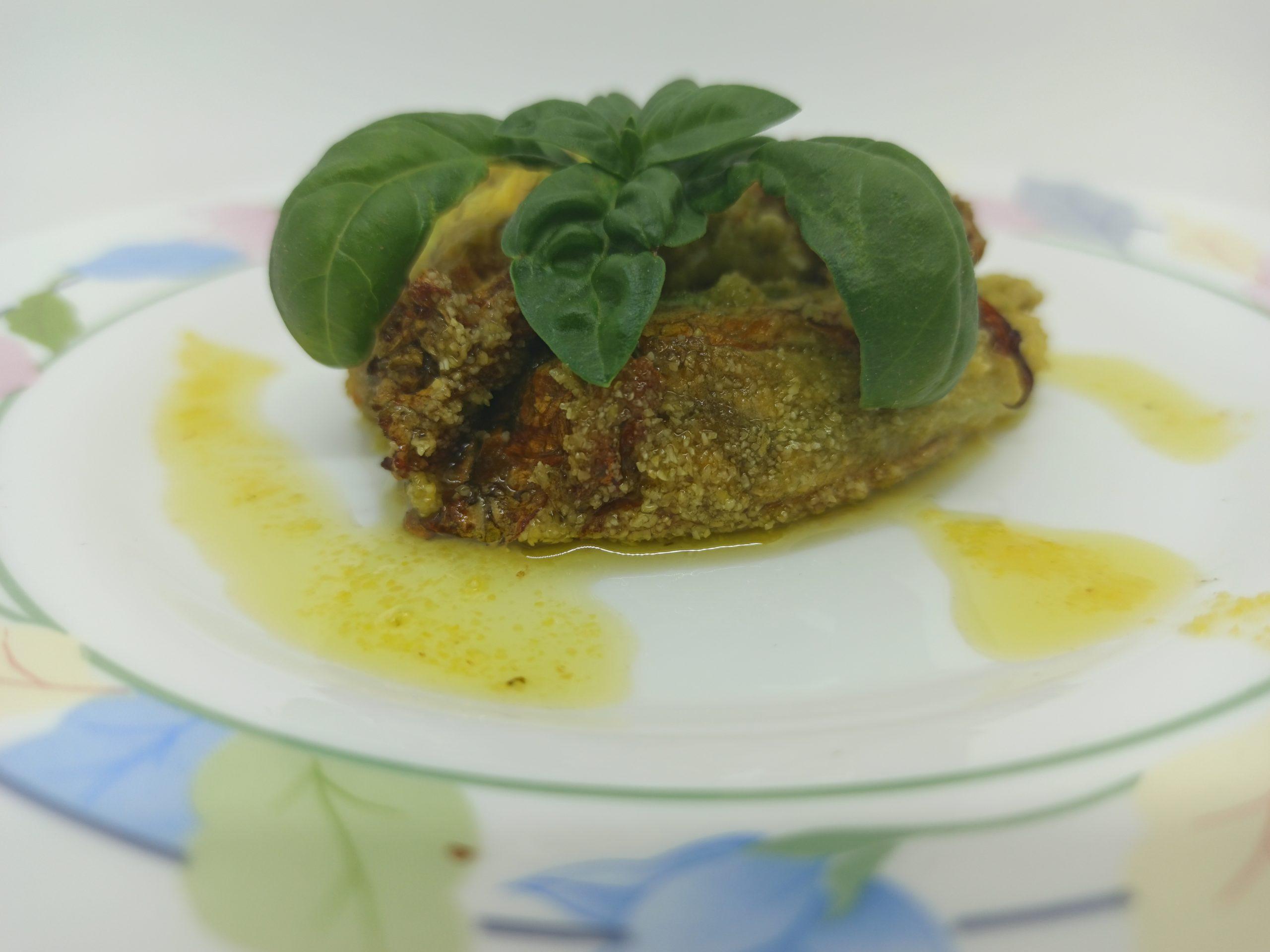 Fiori di zucca ripieni di Pesto e Feta
